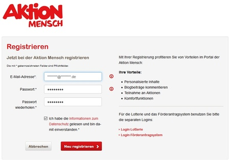 Aktion Mensch - Registrieren - Bildschirmfoto