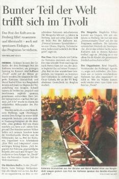 Zeitungsartikel mit Foto: Sängerin und Klavierspieler